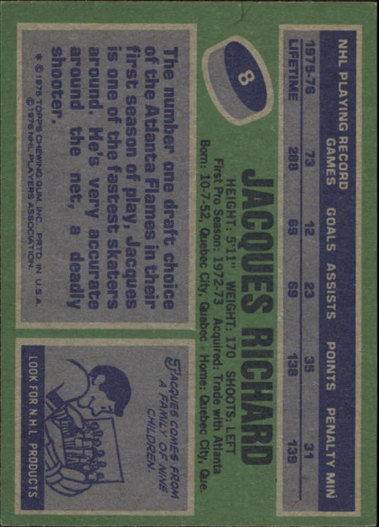 1976-77 Topps #8 Jacques Richard back image