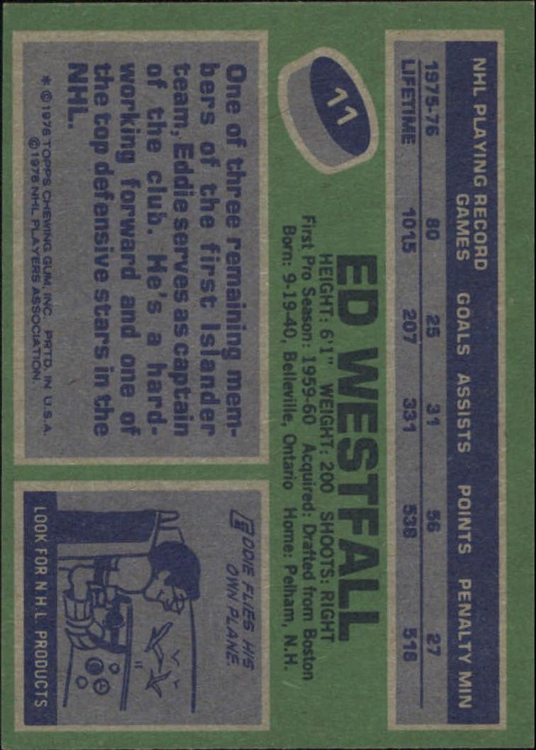 1976-77 Topps #11 Ed Westfall back image