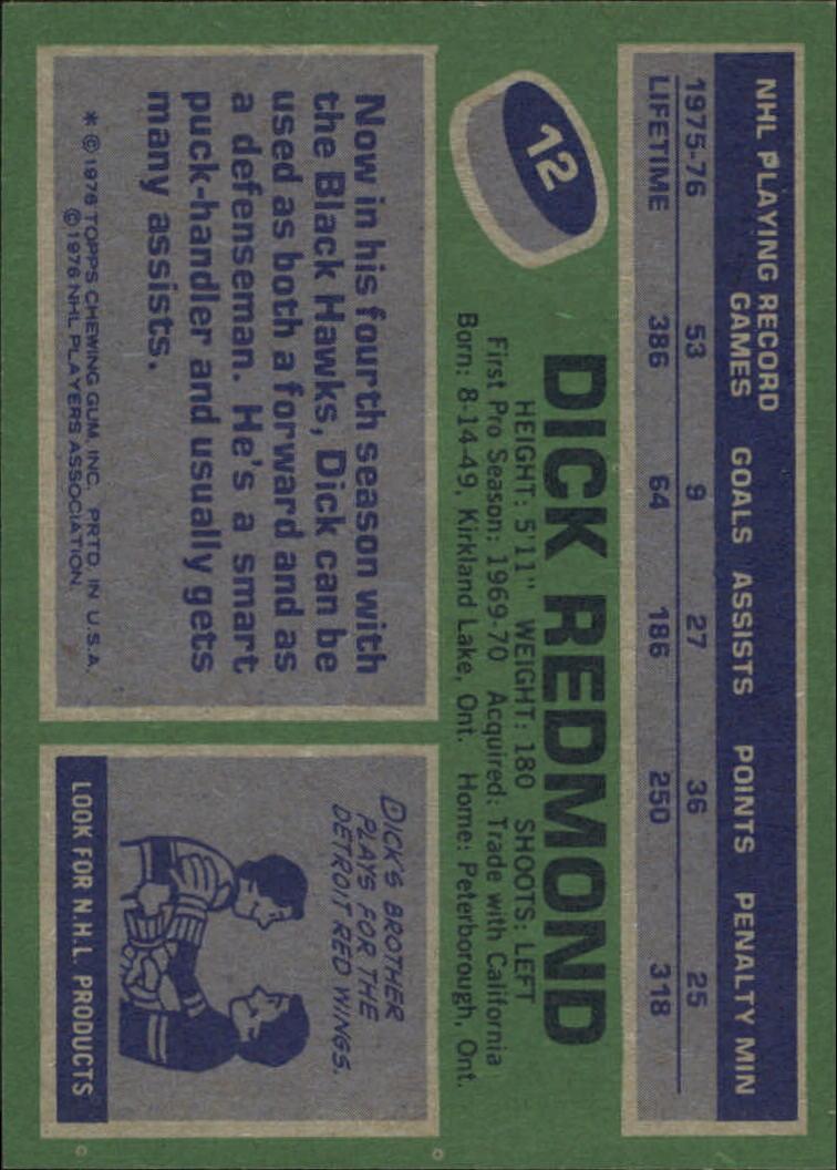 1976-77 Topps #12 Dick Redmond back image