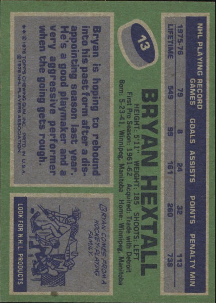 1976-77 Topps #13 Bryan Hextall back image