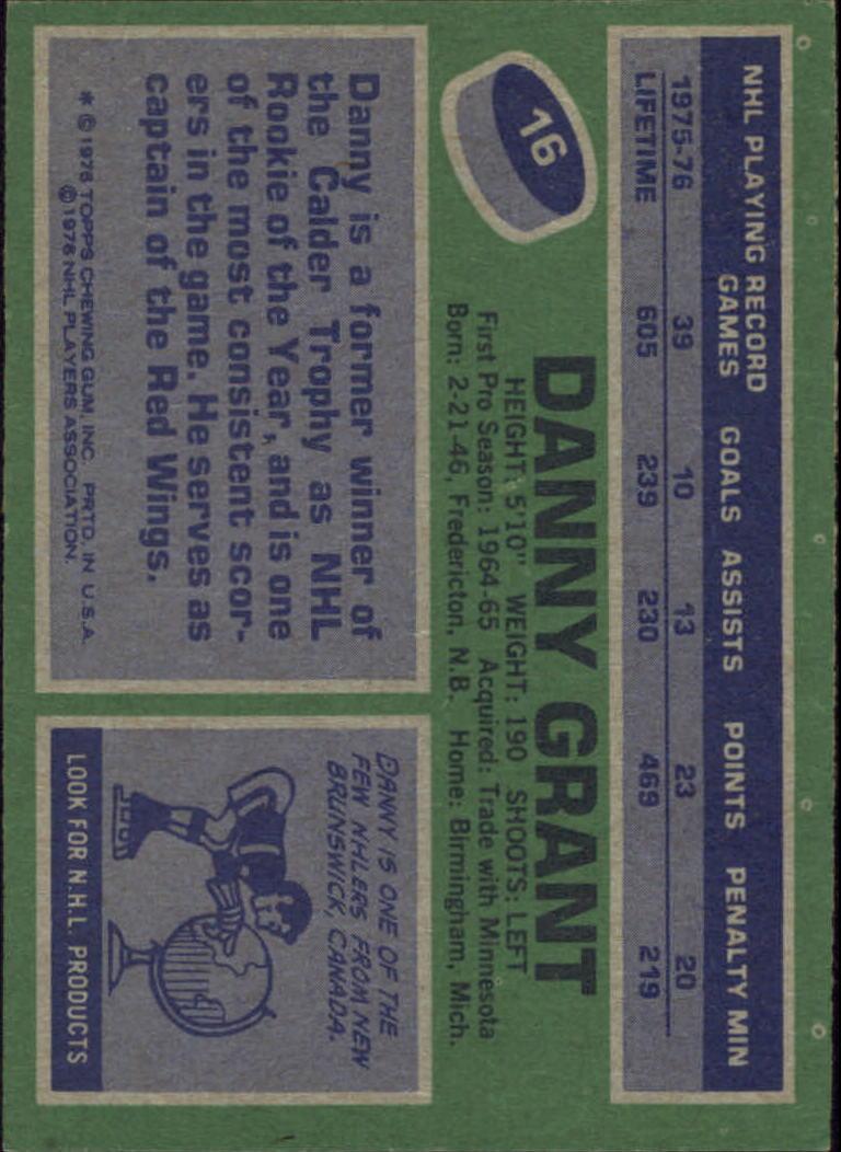 1976-77 Topps #16 Danny Grant back image