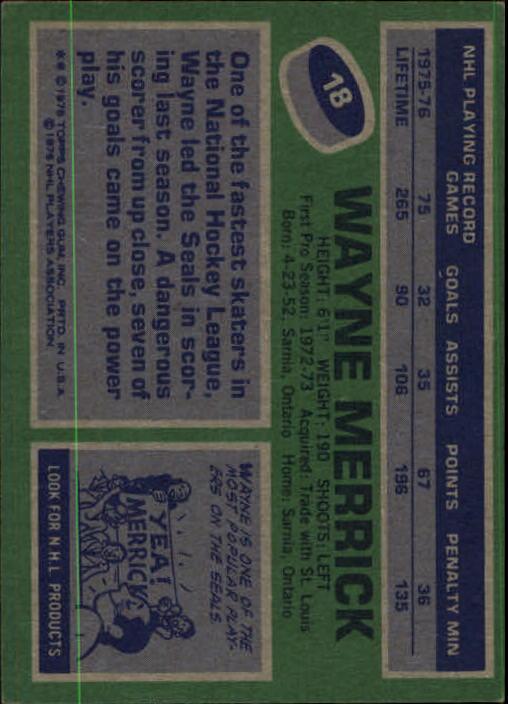 1976-77 Topps #18 Wayne Merrick back image