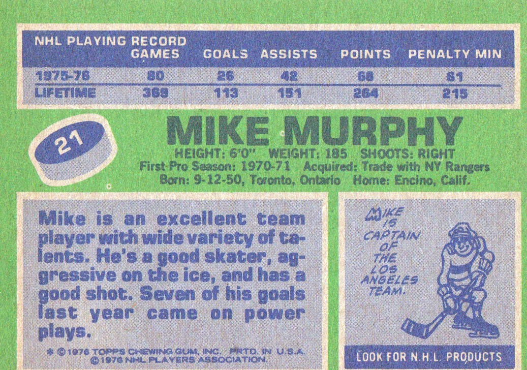 1976-77 Topps #21 Mike Murphy back image