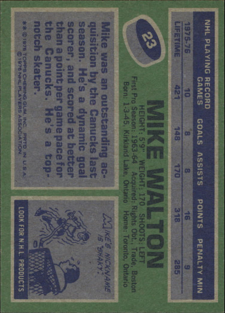 1976-77 Topps #23 Mike Walton back image