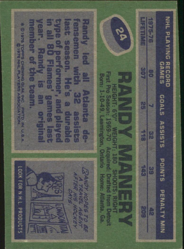 1976-77 Topps #24 Randy Manery back image
