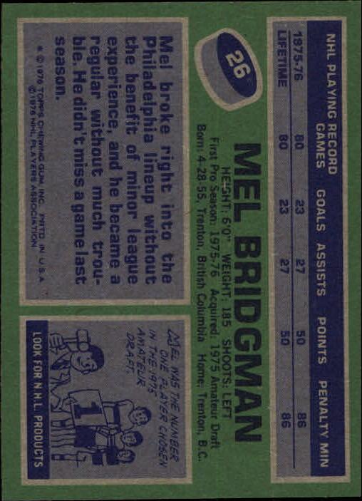 1976-77 Topps #26 Mel Bridgman RC back image