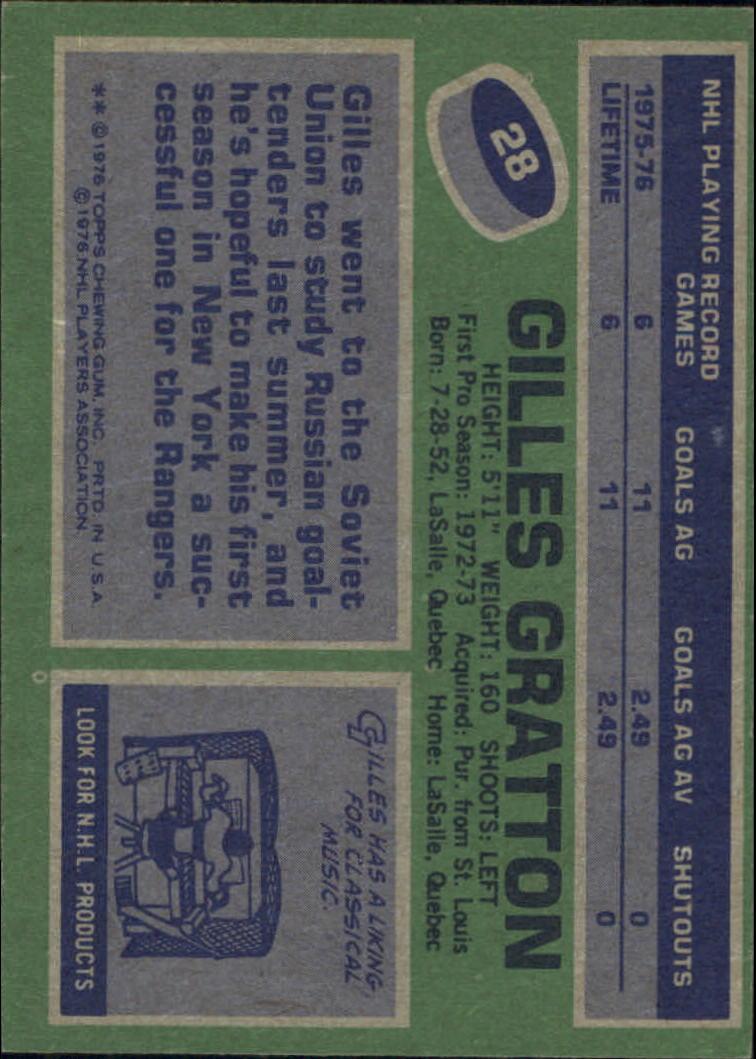 1976-77 Topps #28 Gilles Gratton back image