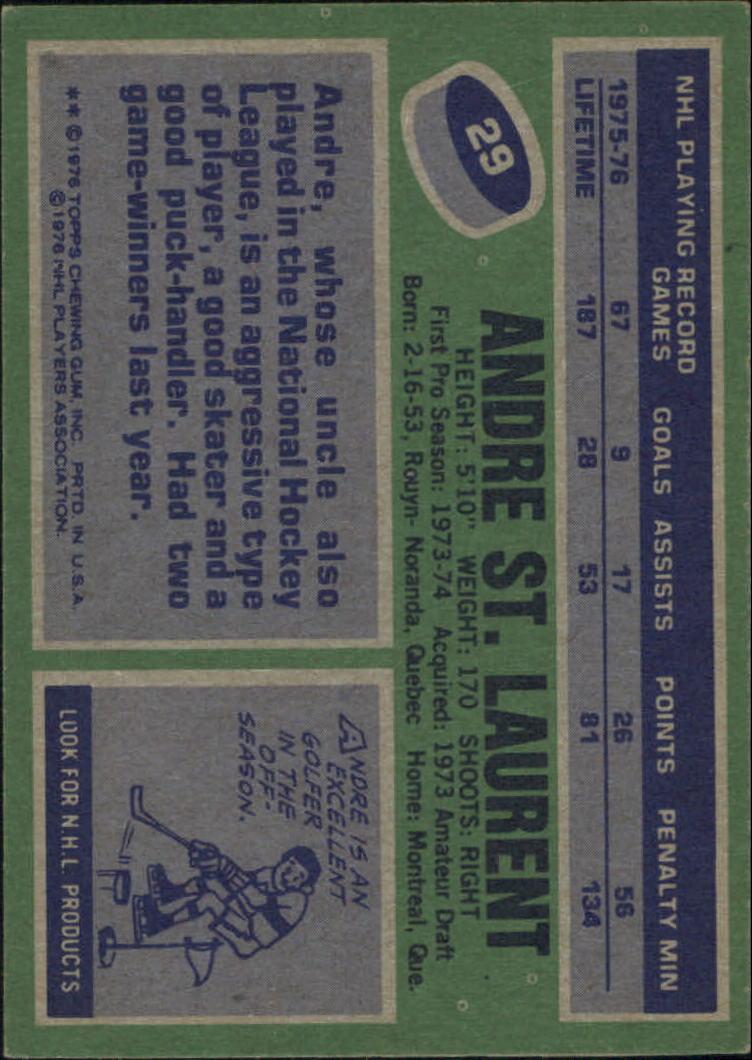 1976-77 Topps #29 Andre St.Laurent back image