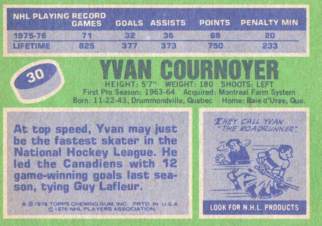 1976-77 Topps #30 Yvan Cournoyer back image