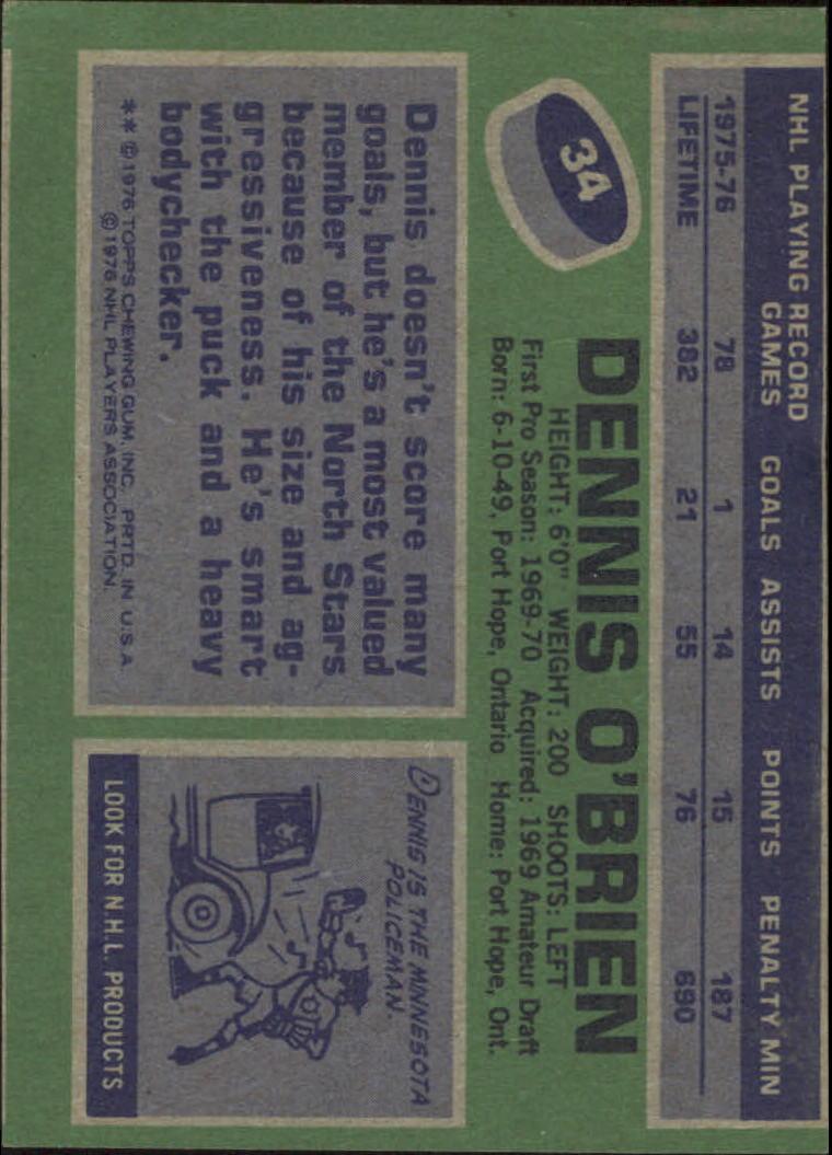 1976-77 Topps #34 Dennis O'Brien back image