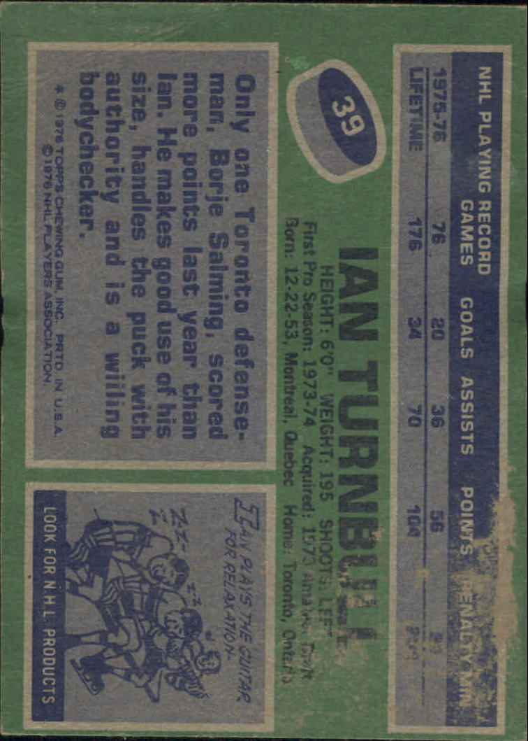 1976-77 Topps #39 Ian Turnbull back image