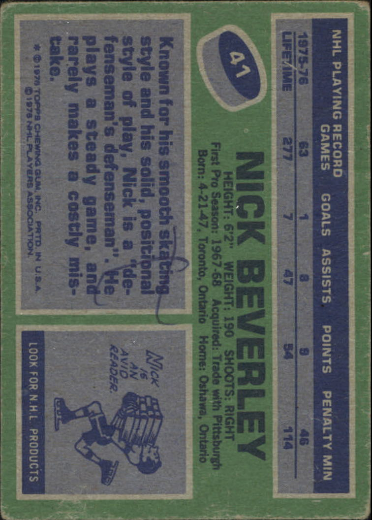 1976-77 Topps #41 Nick Beverley back image
