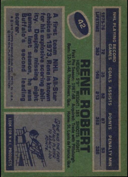 1976-77 Topps #42 Rene Robert back image