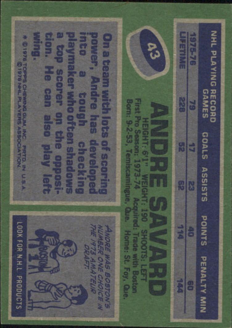 1976-77 Topps #43 Andre Savard back image