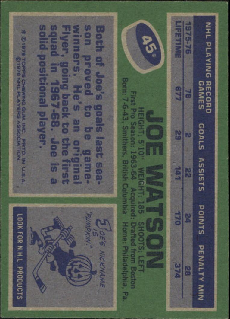 1976-77 Topps #45 Joe Watson back image