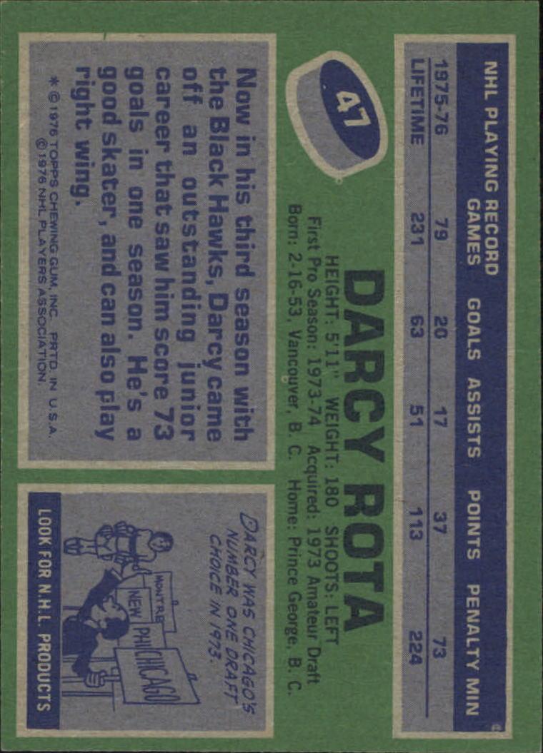 1976-77 Topps #47 Darcy Rota back image