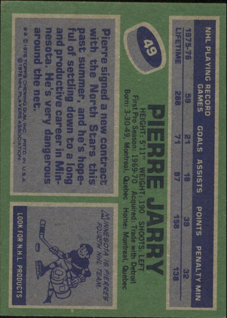 1976-77 Topps #49 Pierre Jarry back image