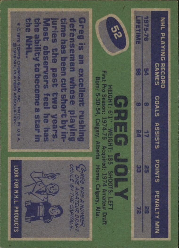 1976-77 Topps #52 Greg Joly back image