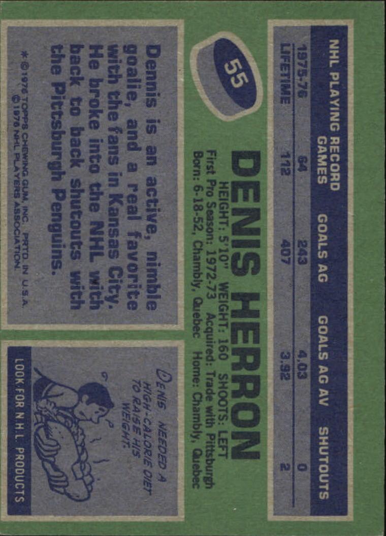 1976-77 Topps #55 Denis Herron back image