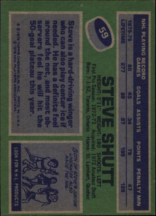 1976-77 Topps #59 Steve Shutt back image