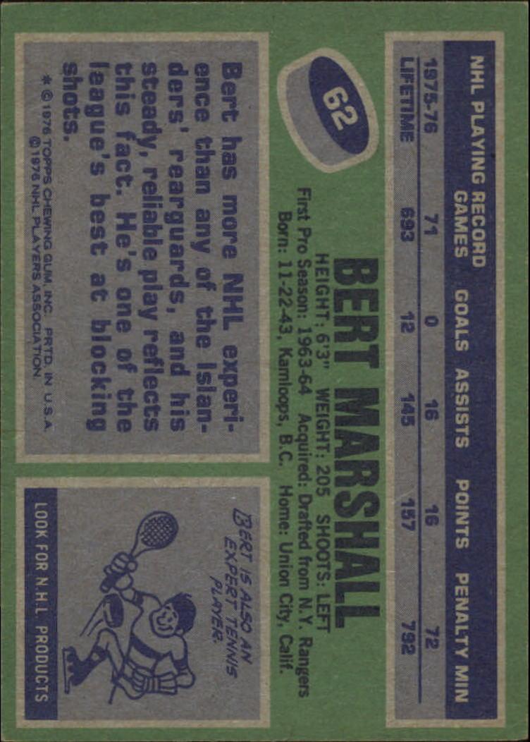 1976-77 Topps #62 Bert Marshall back image