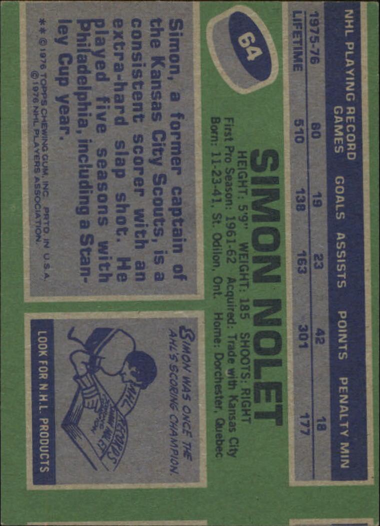 1976-77 Topps #64 Simon Nolet back image