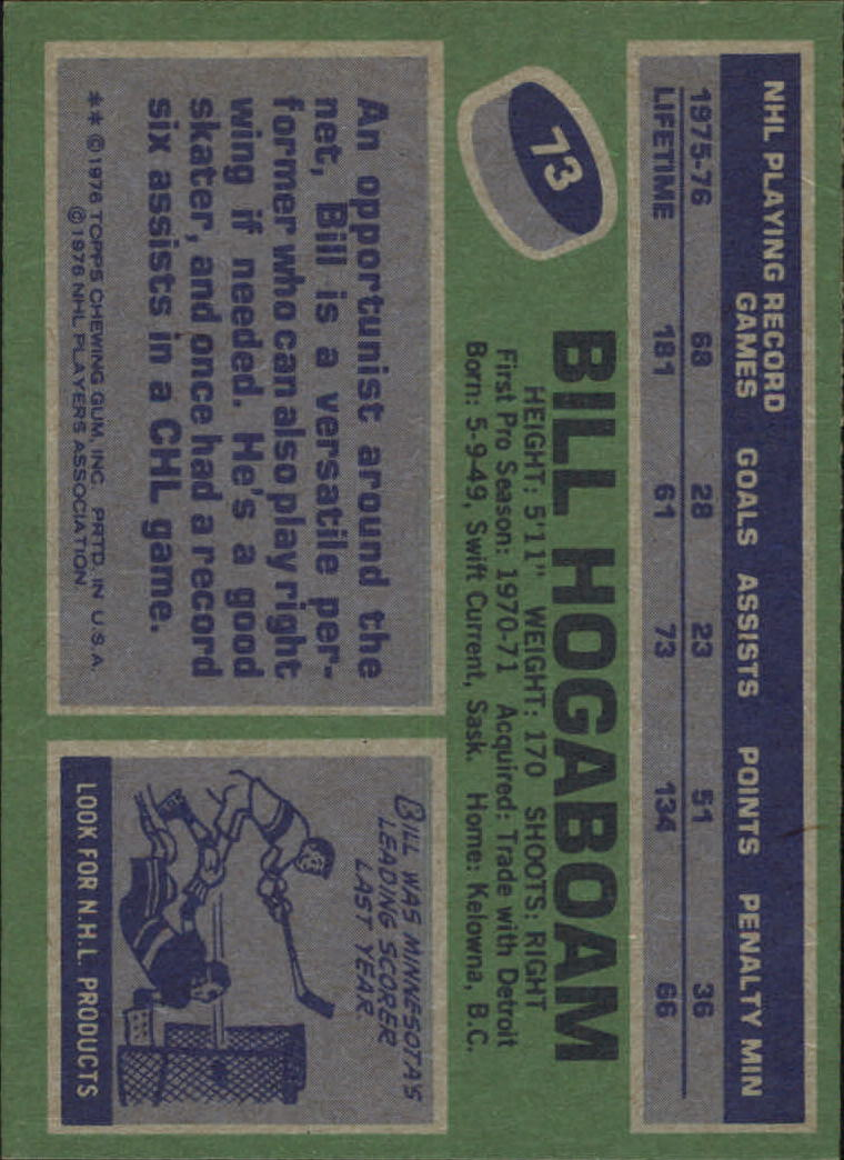 1976-77 Topps #73 Bill Hogaboam back image