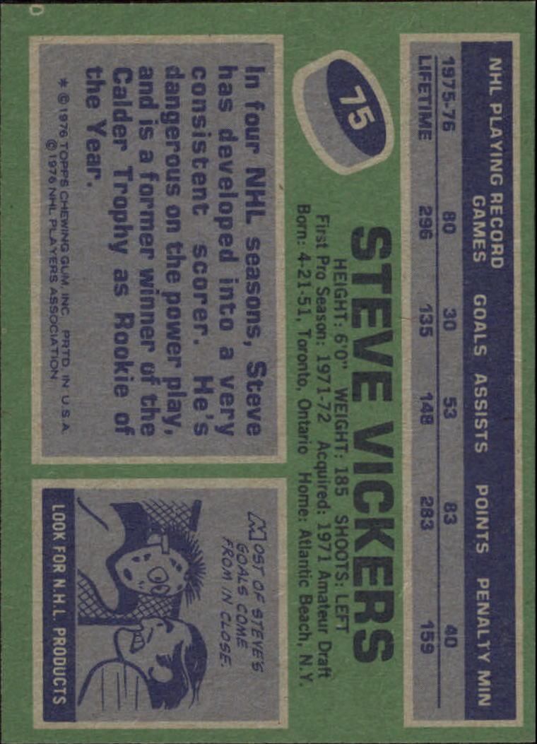1976-77 Topps #75 Steve Vickers back image