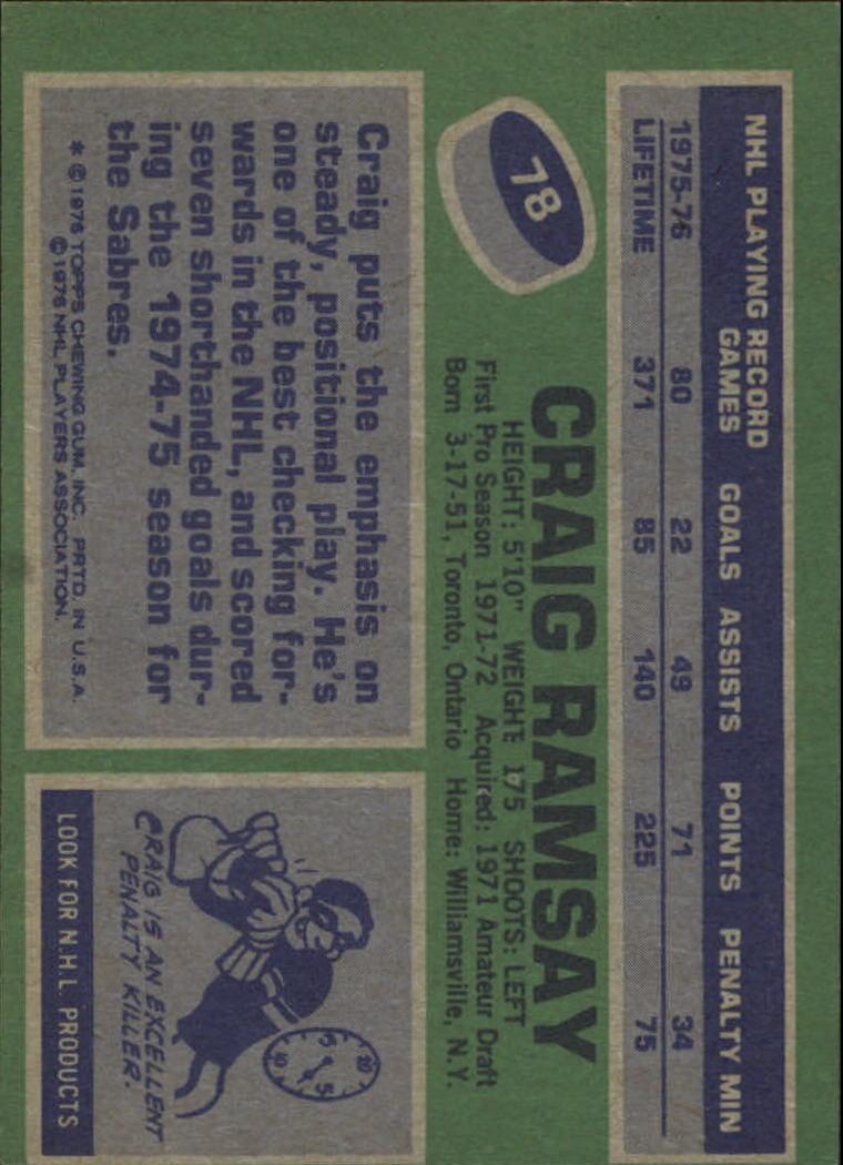 1976-77 Topps #78 Craig Ramsay back image
