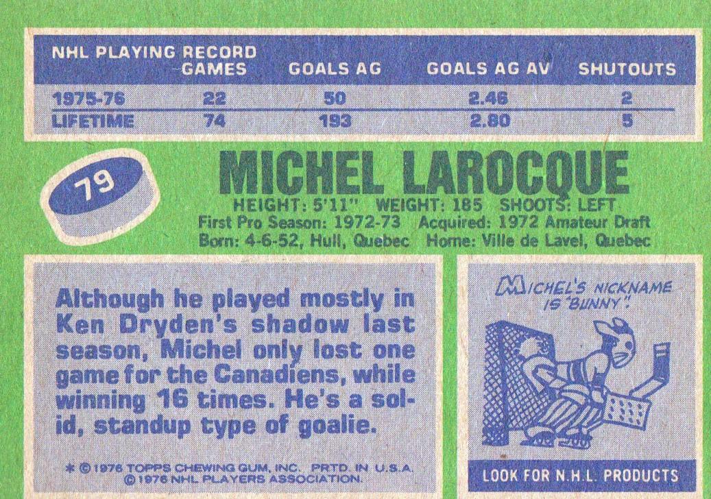 1976-77 Topps #79 Michel Larocque back image