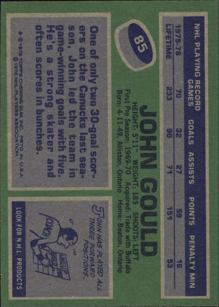 1976-77 Topps #85 John Gould back image