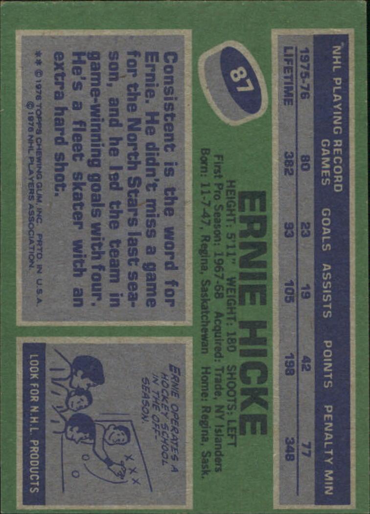 1976-77 Topps #87 Ernie Hicke back image