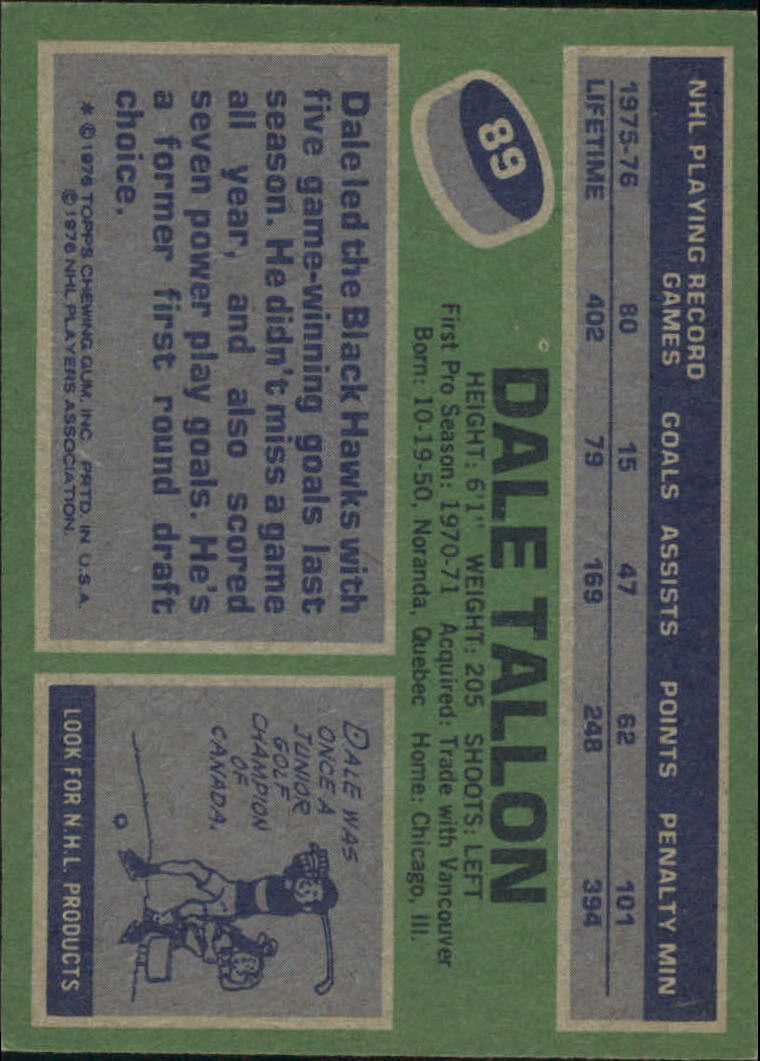 1976-77 Topps #89 Dale Tallon back image