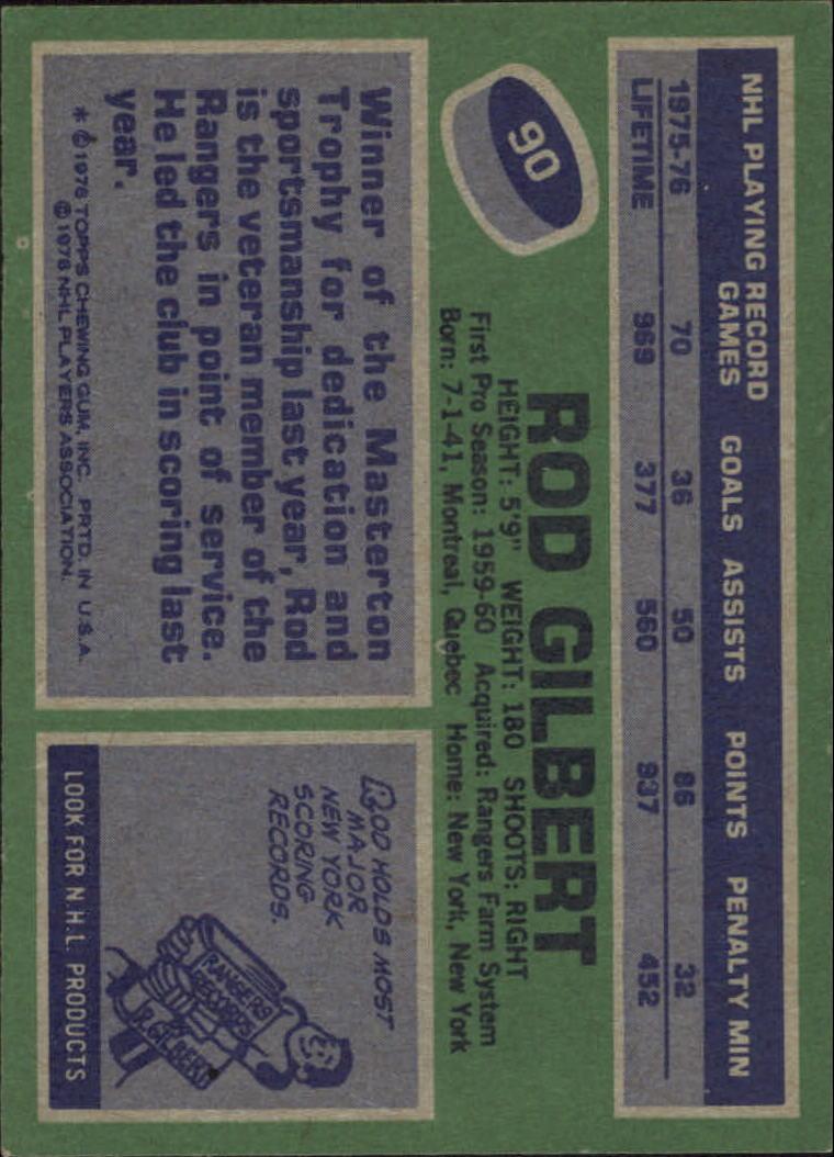 1976-77 Topps #90 Rod Gilbert back image