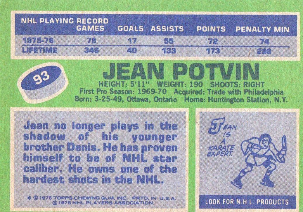 1976-77 Topps #93 Jean Potvin back image