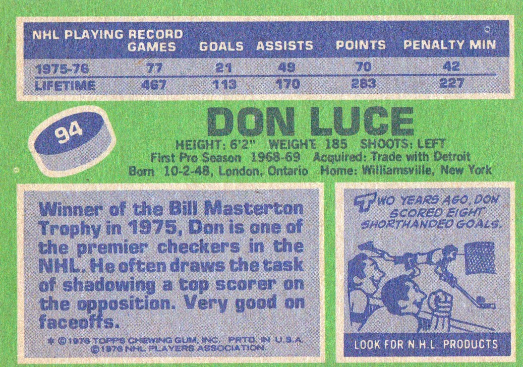1976-77 Topps #94 Don Luce back image