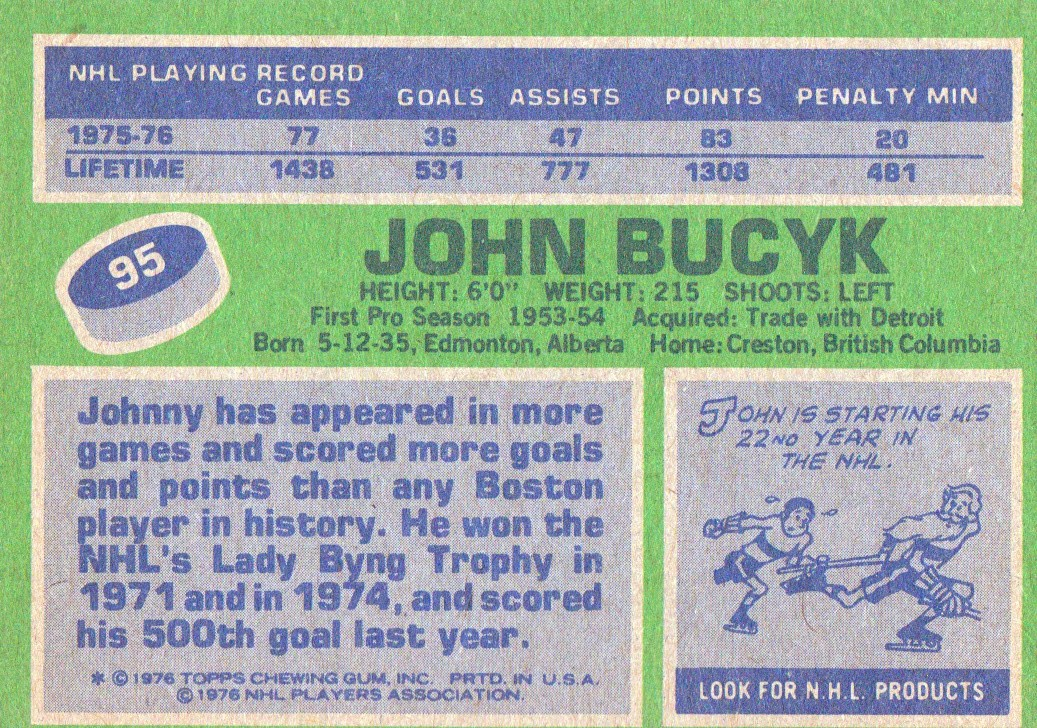 1976-77 Topps #95 Johnny Bucyk back image