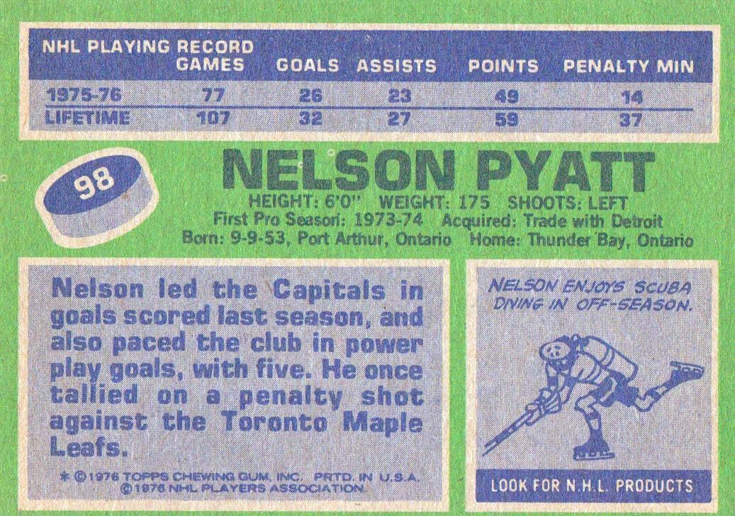 1976-77 Topps #98 Nelson Pyatt RC back image
