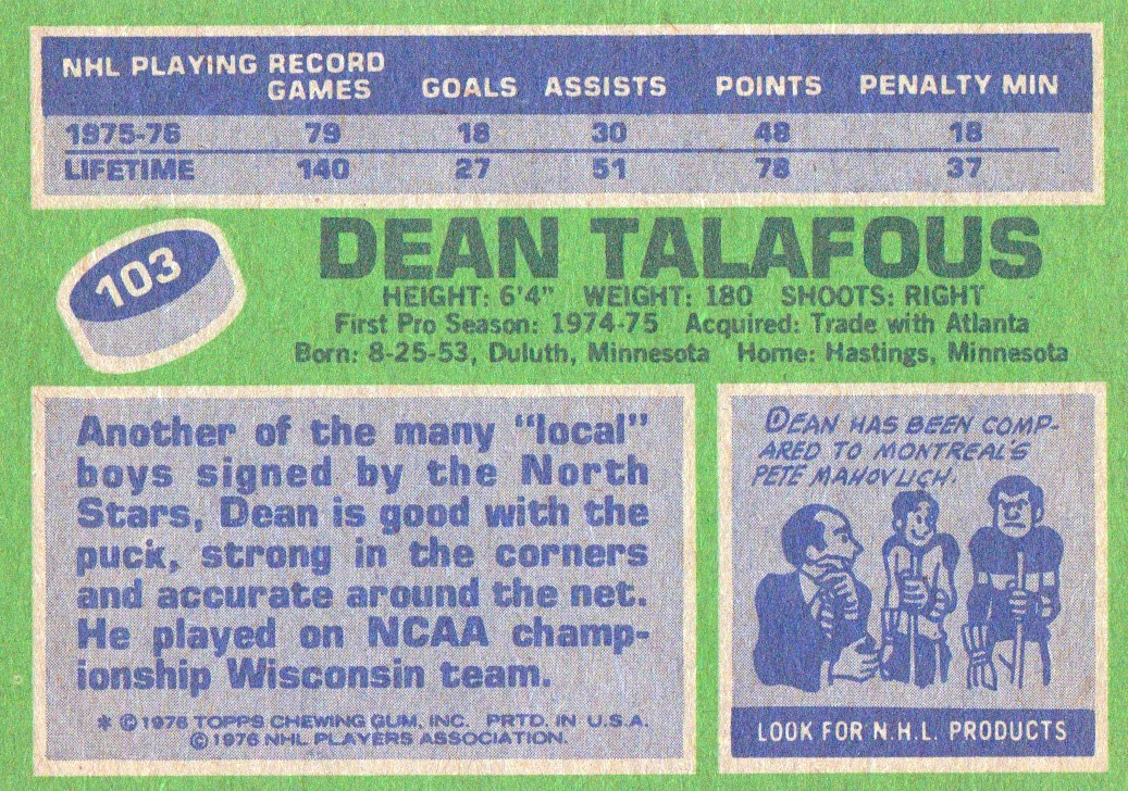 1976-77 Topps #103 Dean Talafous back image