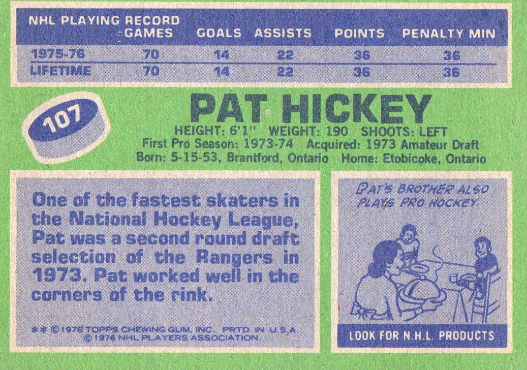 1976-77 Topps #107 Pat Hickey back image