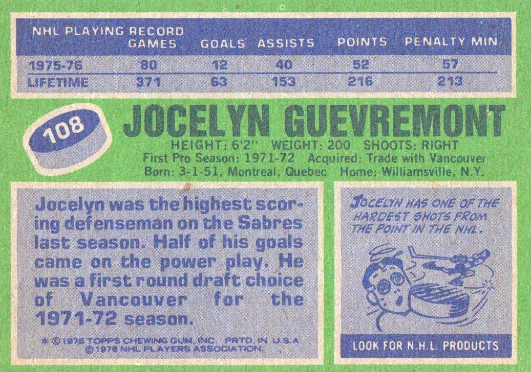 1976-77 Topps #108 Jocelyn Guevremont back image