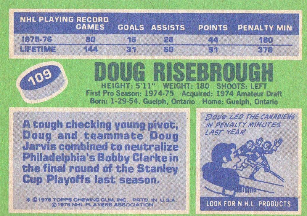 1976-77 Topps #109 Doug Risebrough back image