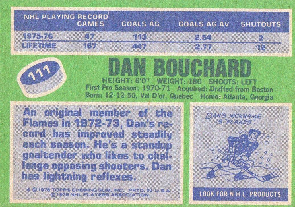 1976-77 Topps #111 Dan Bouchard back image