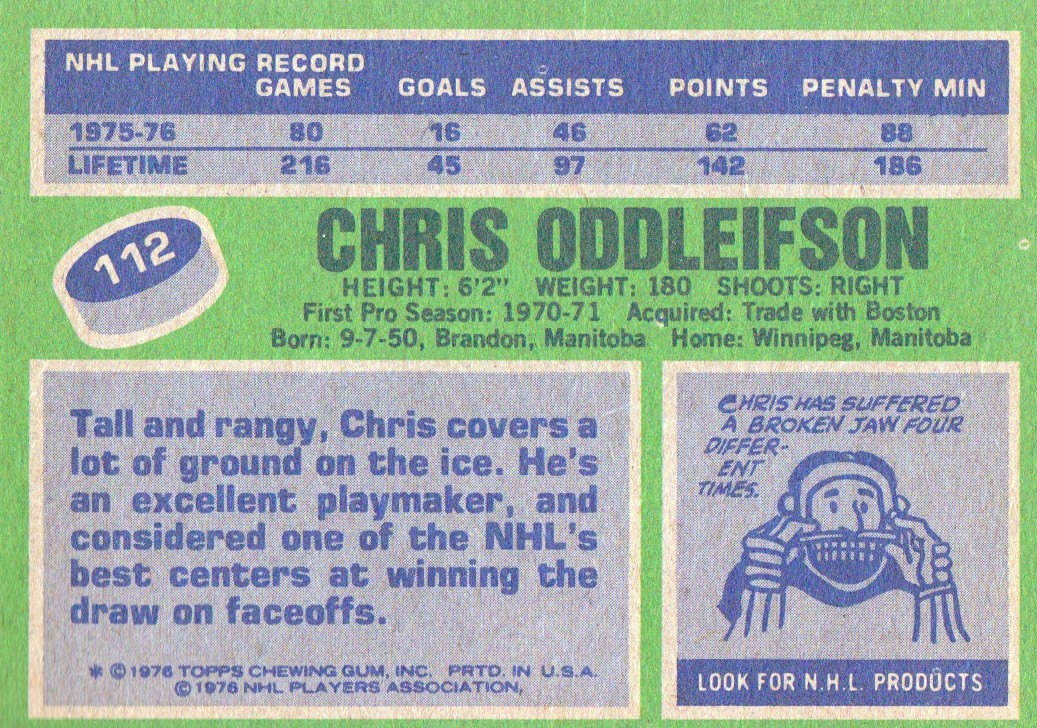 1976-77 Topps #112 Chris Oddleifson back image