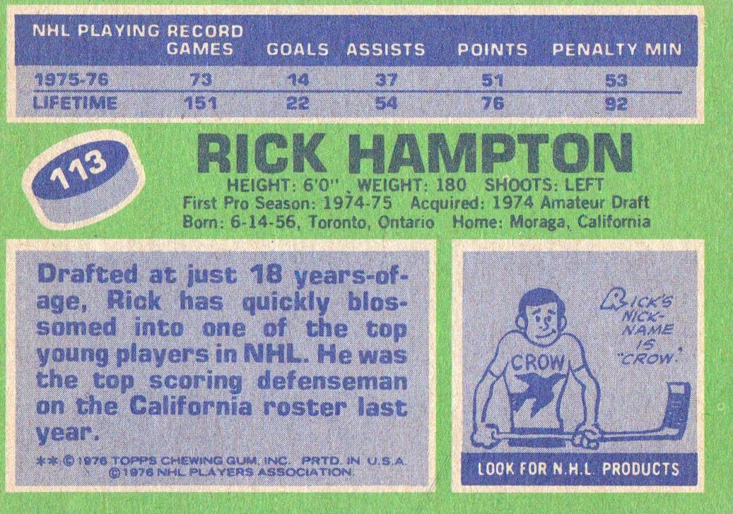 1976-77 Topps #113 Rick Hampton back image