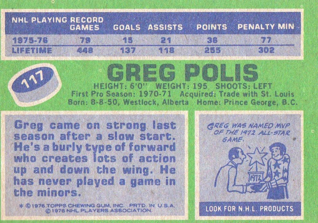 1976-77 Topps #117 Greg Polis back image