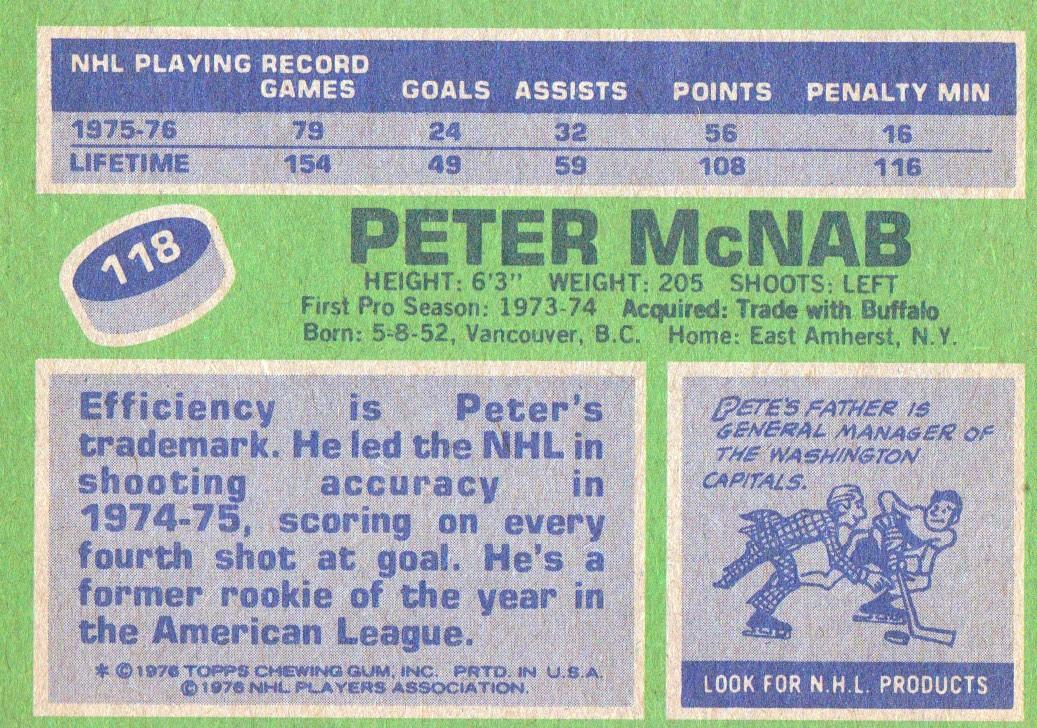 1976-77 Topps #118 Peter McNab back image