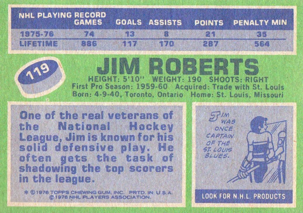 1976-77 Topps #119 Jim Roberts back image