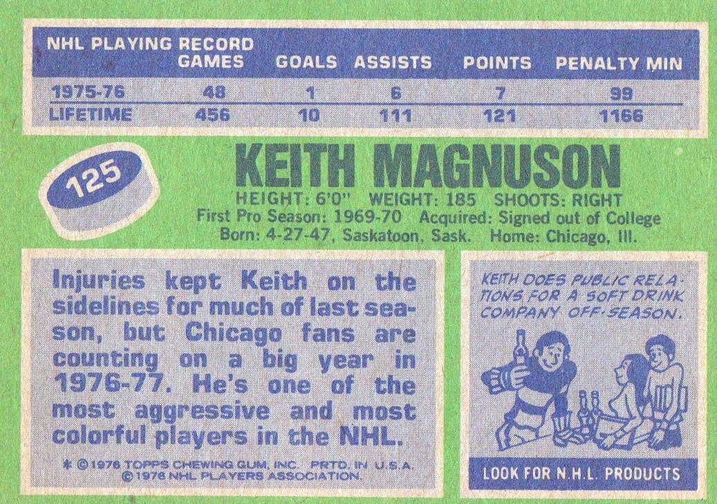 1976-77 Topps #125 Keith Magnuson back image