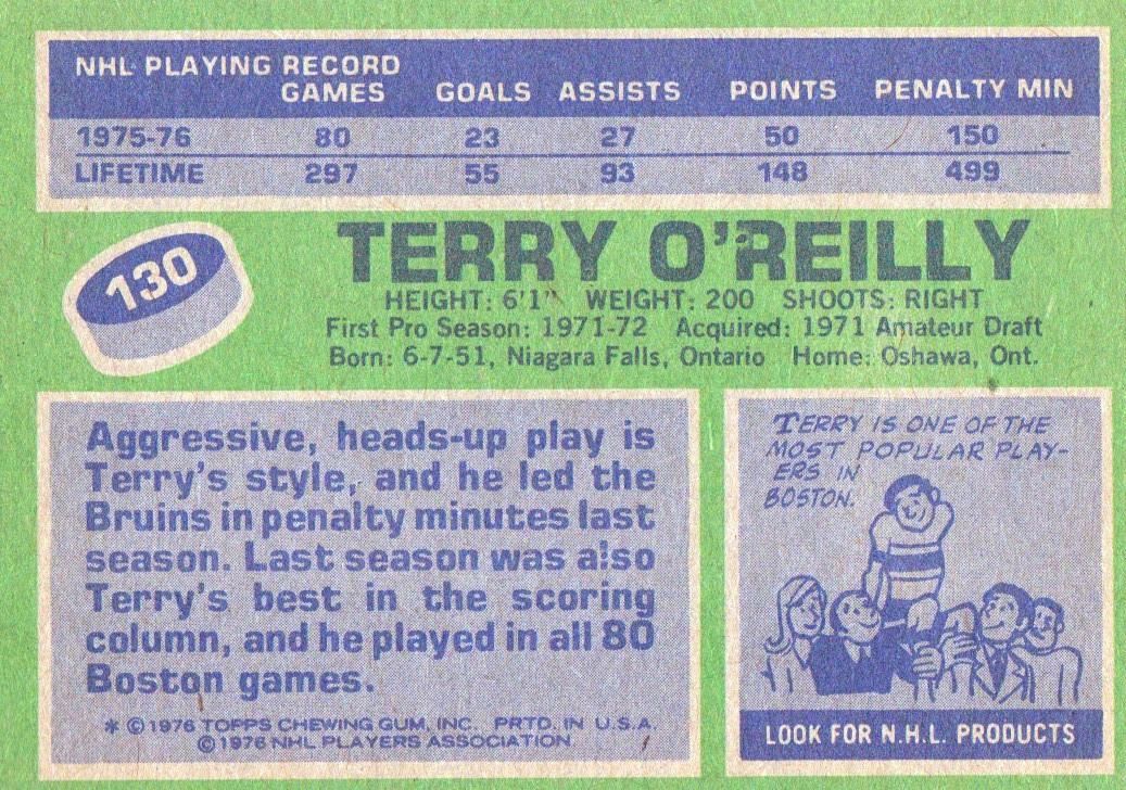 1976-77 Topps #130 Terry O'Reilly back image